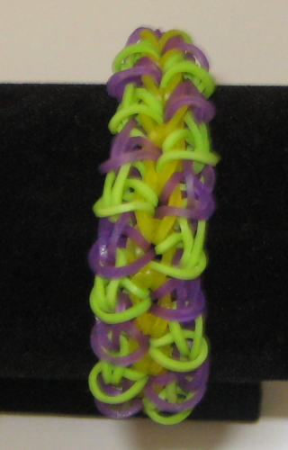 Double Rhombus-Rainbow loom rubber band, purple and green